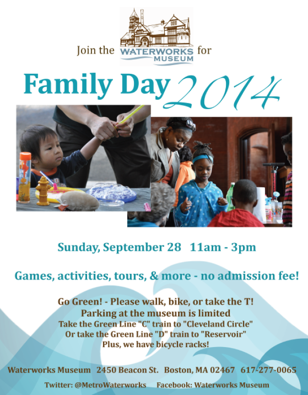 waterworks family day museum flyer